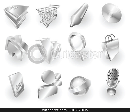 Metal metallic web and application icon set stock vector clipart,  A set of silver steel or aluminium shiny glossy metal metallic internet application icon set series.   by Christos Georghiou