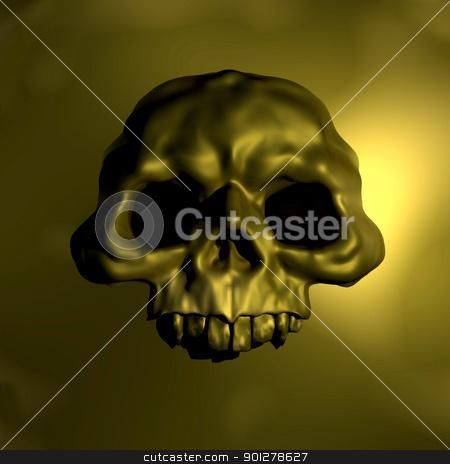 gold skull emblem illustration stock photo, Illustration of human skull, front view, gold skull emblem illustration  by Christos Georghiou