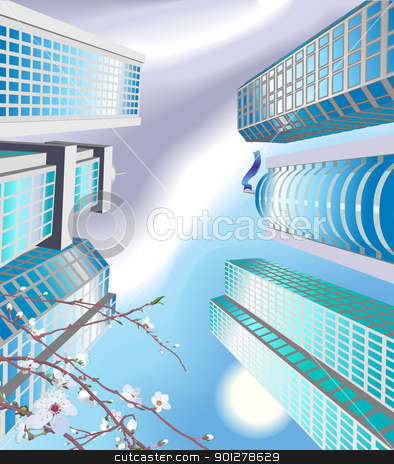 skyscrapers Illustration stock vector clipart, The from the ground looking up sky skyscrapers  by Christos Georghiou