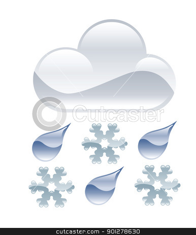 sleet illustration stock vector clipart, Illustration of cloud and sleet by Christos Georghiou