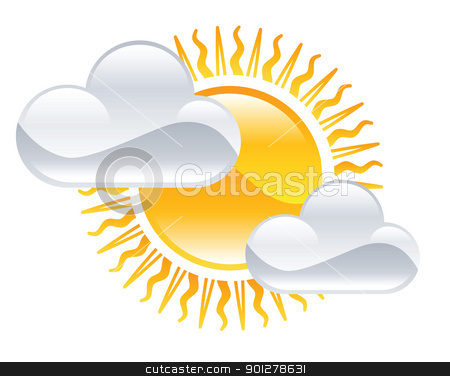 slightly cloudy illustration stock vector clipart, Illustration of slightly cloudy sky by Christos Georghiou