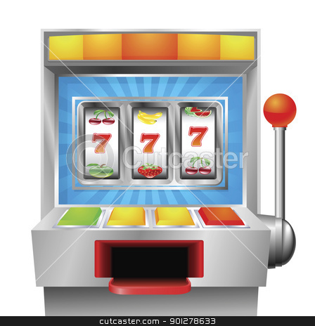 Slot fruit machine stock vector clipart, A slot or fruit machine illustration on white background by Christos Georghiou