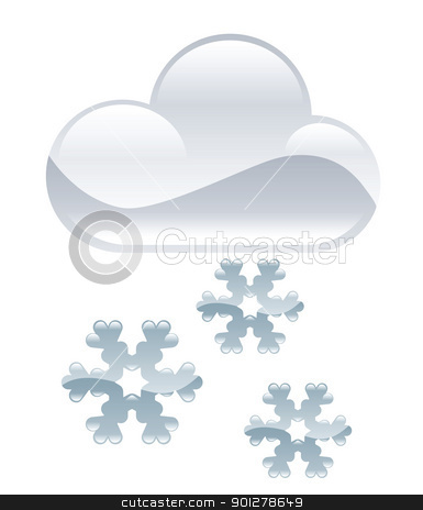 snow illustration stock vector clipart, Illustration of cloud and snowflakes by Christos Georghiou