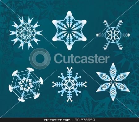 snowflakes set stock vector clipart, some snowflakes  by Christos Georghiou