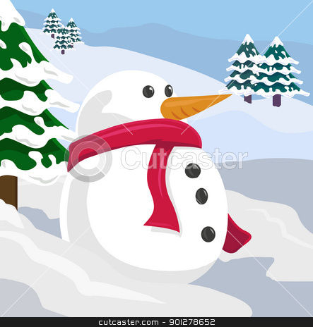 snowman illustration stock vector clipart, A snowman in a winter scene  by Christos Georghiou