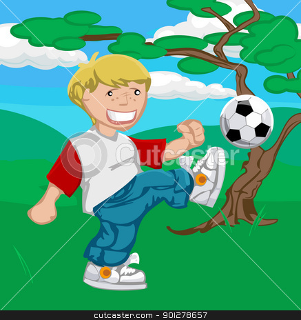 soccer boy illustration stock vector clipart, A young boy happily playing soccer.  by Christos Georghiou