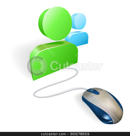Mouse and social media icon concept stock vector clipart, A mouse connected to a social media icon. Concept for online social networking. by Christos Georghiou