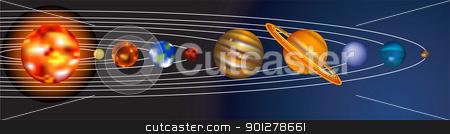 solar system illustration stock vector clipart, an illustration of our solar system  by Christos Georghiou