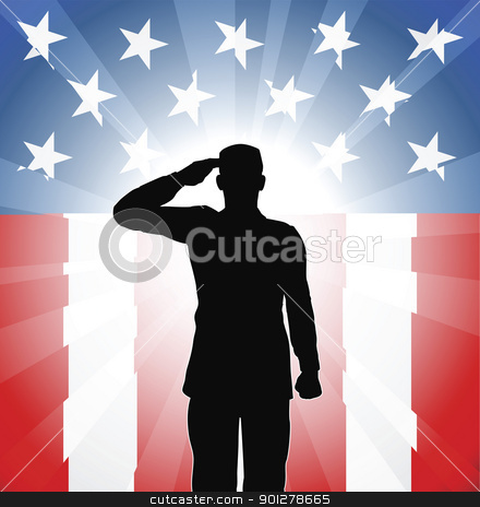 Patriotic soldier salute stock vector clipart, A patriotic soldier saluting in front of an American background by Christos Georghiou