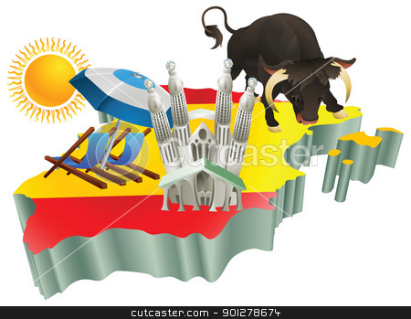 Illustration Spanish tourist attractions in Spain stock vector clipart, An illustration of some Spanish tourist attractions in Spain. by Christos Georghiou