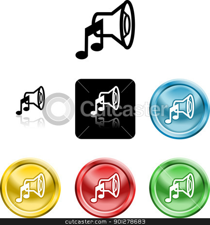speaker sound media icon symbol stock vector clipart, Several versions of a stylised speaker sound media icon symbol  by Christos Georghiou