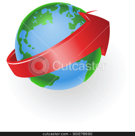 spinning globe arrow illustration stock vector clipart, Illustration of a spinning globe with red arrow around it by Christos Georghiou