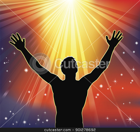 Spiritual joy stock vector clipart, A man with arms raised to heaven. Conceptual illustration with many religious or secular interpretations. by Christos Georghiou