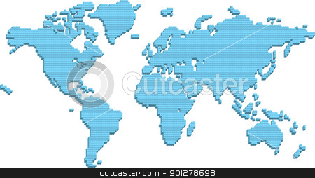 world map made up of 3d pillars stock vector clipart, A world map made up of 3d pillars. Bottom layer in vector file is flat squares which can be used instead or in conjunction with 3d parts!  by Christos Georghiou