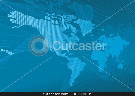 A dynamic 3d world map with background stock vector clipart, A dynamic 3d world map with background.  by Christos Georghiou
