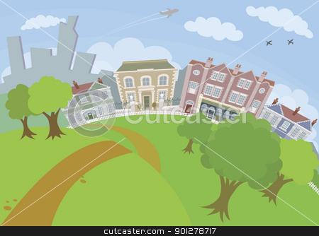 Nice urban scene with park and houses stock vector clipart, A lovely urban scene with park and houses by Christos Georghiou