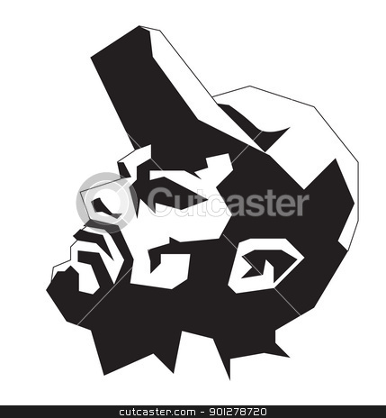 stylised man with wearing cap stock vector clipart, Black and white illustration of man in ballcap by Christos Georghiou