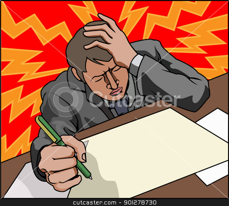 Stressed business man stock vector clipart, Very stressed looking business man perhaps with headache. by Christos Georghiou