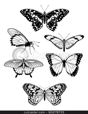 Beautiful stylised butterfly outline silhouettes stock vector clipart, A set of beautiful stylised butterfly outline silhouettes  by Christos Georghiou