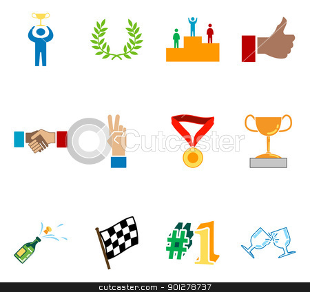 Victory and Success Icon Set Series Design Elements stock vector clipart,  A conceptual icon set relating to victory and success.  by Christos Georghiou