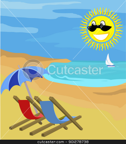 summer holiday illustration stock vector clipart, Beach chairs on beach with sun.  by Christos Georghiou