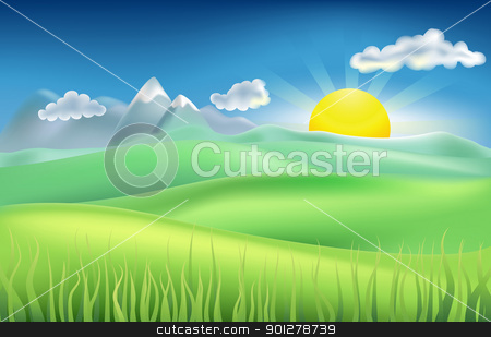 summer time field stock vector clipart, Illustration of summer landscape with sun, hills, and mountains by Christos Georghiou