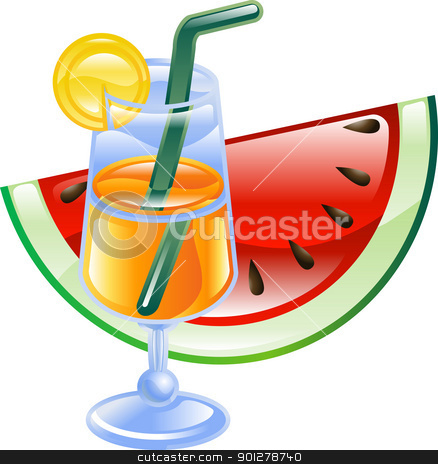 Summer cocktail and watermelon stock vector clipart, An orange summer beach cocktail and watermelon illustration icon  by Christos Georghiou