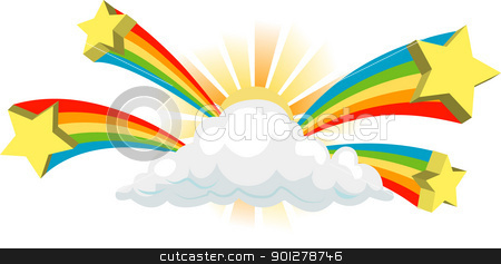 sunshine and stars stock vector clipart, funky cloud sign  by Christos Georghiou
