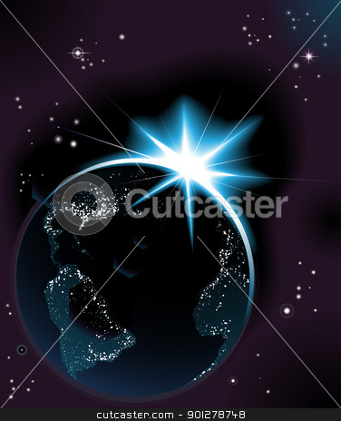 Sun rising over night time planet earth stock vector clipart, The sun rising over night time planet earth globe with city lights by Christos Georghiou