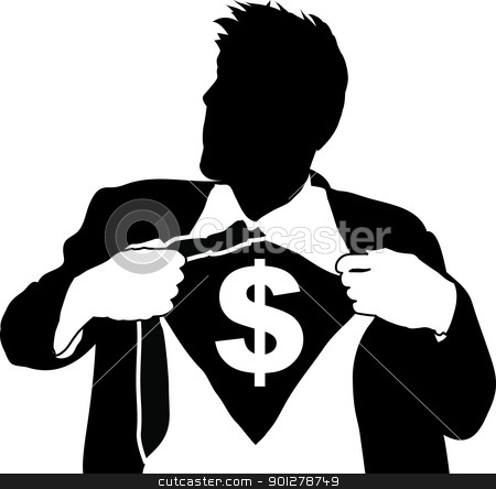 super businessman illustartion stock vector clipart, A businessman tearing open his shirt to reveal a dollar sign  by Christos Georghiou