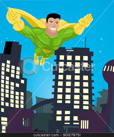 superhero illustration stock vector clipart, a super hero flying over a city  by Christos Georghiou