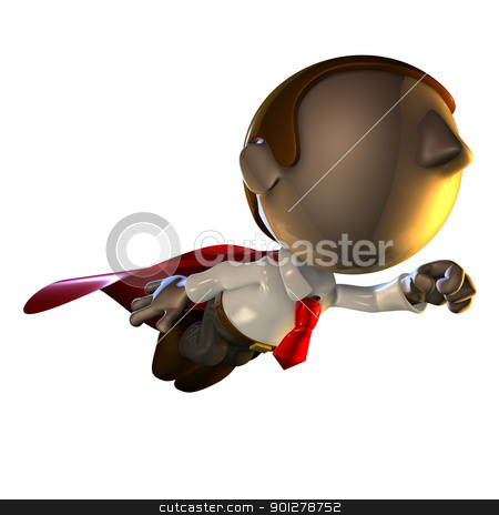 3d business man character flying  stock photo, 3d business man character flying with a red cape by Christos Georghiou