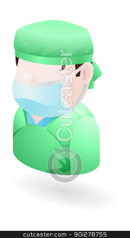 Surgeon Illustration stock vector clipart, An illustration of a surgeon in surgical mask and scrubs by Christos Georghiou