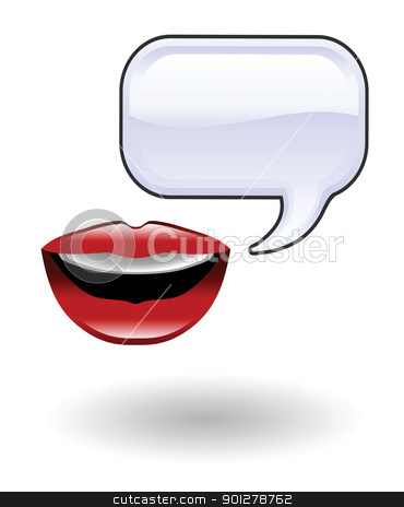 talk Illustration stock vector clipart, Illustration of talking lips by Christos Georghiou
