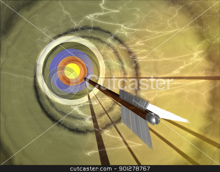on target stock photo, An arrow hurtling towards a bullseye  by Christos Georghiou