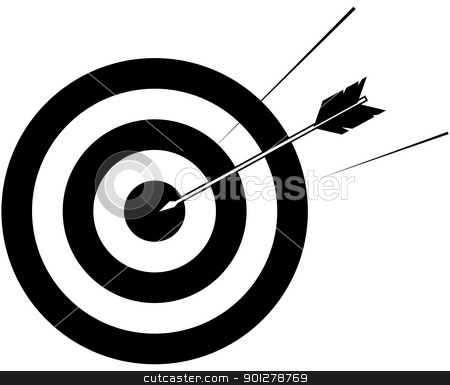 target and arrow illustration stock vector clipart, Arrow striking centre of target  by Christos Georghiou