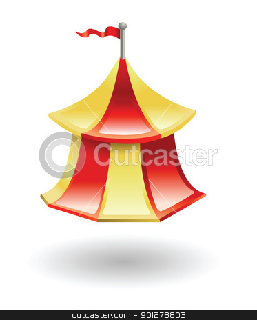 tent Illustration stock vector clipart, Illustration of a circus tent by Christos Georghiou