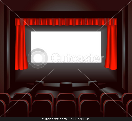 cinema illustration stock vector clipart, a blank cinema screen lighting up a dark movie theatre for you to place what you like on. Shading by blends not mesh  by Christos Georghiou