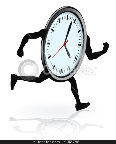 Clock character running stock vector clipart, A clock character running. Concept for running out of time or work life balance. by Christos Georghiou