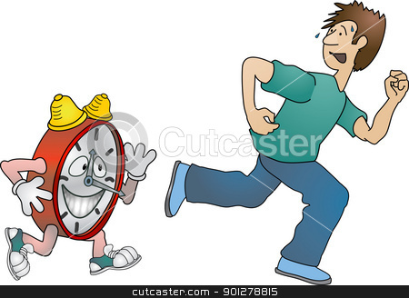 running against the clock  stock vector clipart, A man running against the clock  by Christos Georghiou