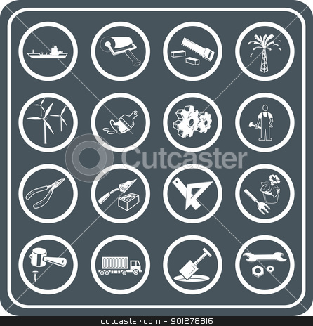 Tools and industry icon set  stock vector clipart, Tools and industry icon set  by Christos Georghiou