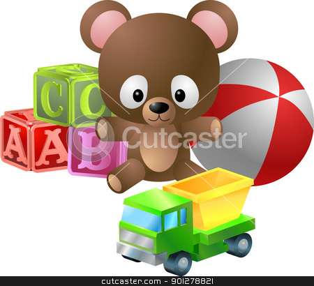 toys illustration stock vector clipart, An illustration of classic childrens toys; bear, alphabet blocks, ball and toy dumper truck  by Christos Georghiou