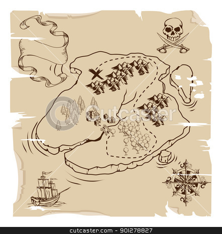 Ye Olde Pirate Treasure Map stock vector clipart, Illustration of an old fashioned pirate island treasue map by Christos Georghiou
