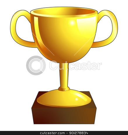 Gold trophy illustration icon stock vector clipart, A gold shiny winners trophy illustration icon  by Christos Georghiou