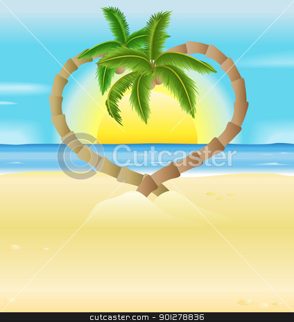 romantic beach, heart palm trees illustration stock vector clipart, A vector illustration of a romantic beach scene  with heart shaped palm trees by Christos Georghiou