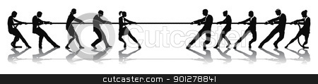 Business people tug of war competition stock vector clipart, Business people tug of war competition concept. Business teams engaged in a rope pulling test contest. by Christos Georghiou