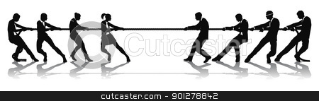 Women versus men business tug of war competition stock vector clipart, Women versus men business tug of war competition concept. Could be related to battle of the sexes or wage equality issues. by Christos Georghiou