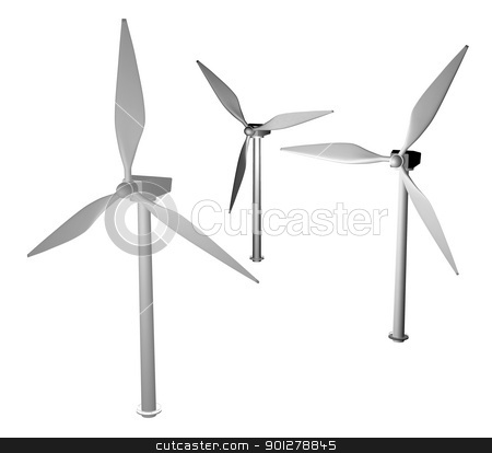 3d greyscale wind turbine stock photo, 3d render of wind turbines modelled by me.  by Christos Georghiou