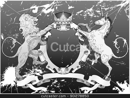 grunge shield coat of arms lion, unicorn, crown stock vector clipart, A grunge shield coat of arms element featuring a lion, unicorn and crown  by Christos Georghiou