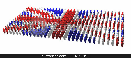 union jack illustration stock photo, A union jack made up of lots of little stylised people  by Christos Georghiou